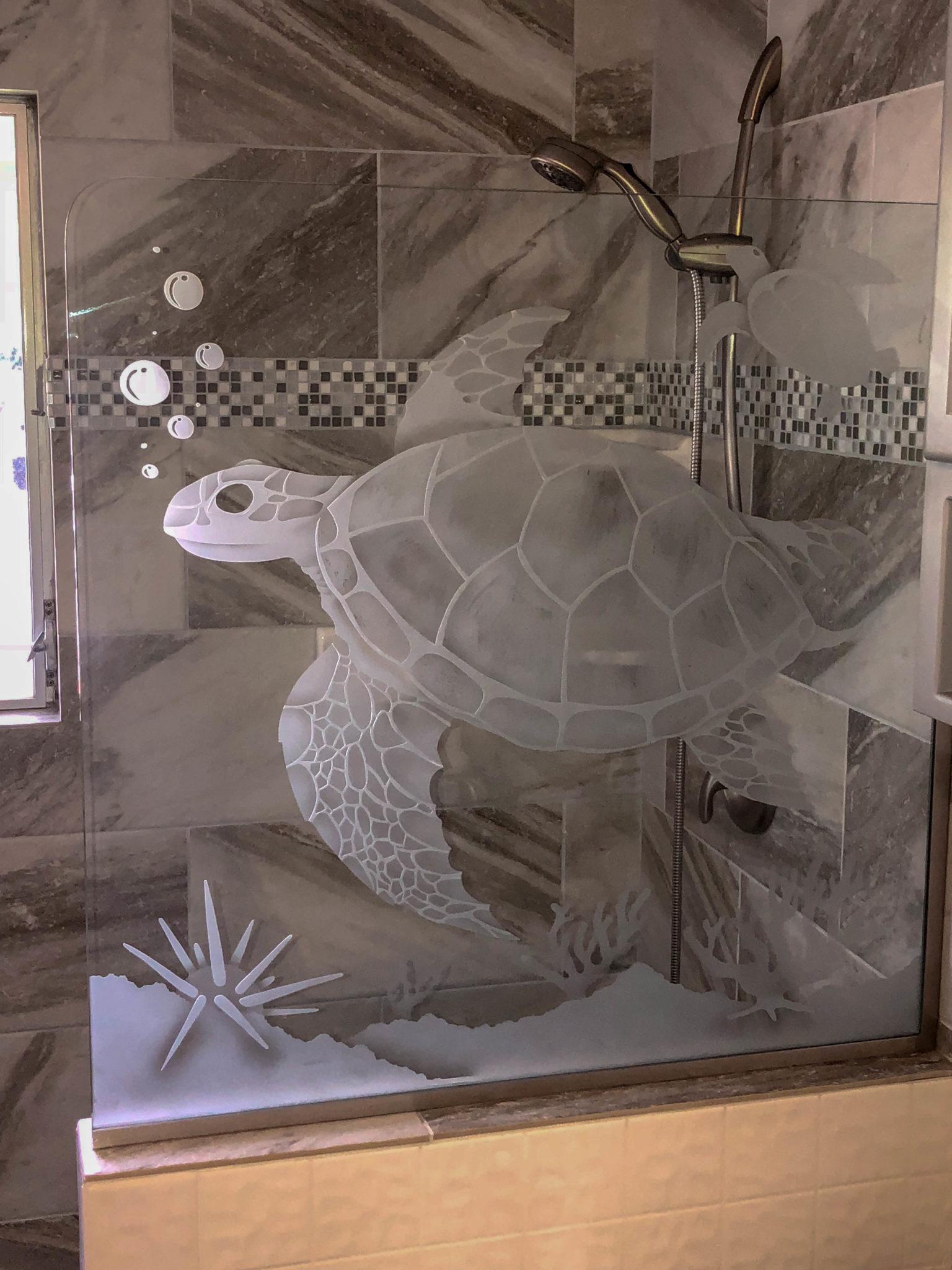 etched glass shower - kona glass hawaii