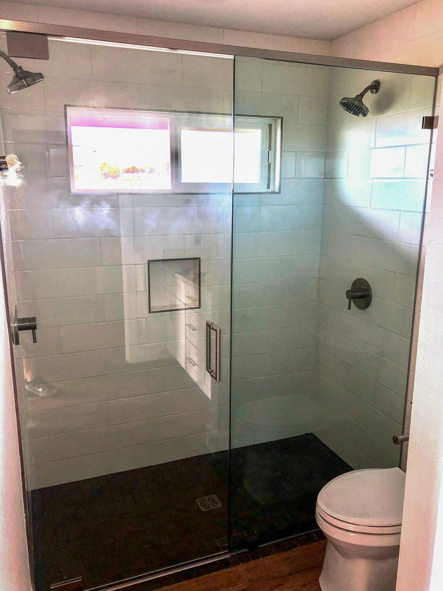 glass shower installation - kona glass hawaii